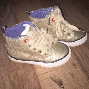 Girls Tommy Hilfiger gold glittery sneakers